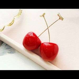 Jewelry - Cherry earrings with gold stem